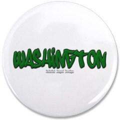 """State of Washington Graffiti 3.5"""" Button"""