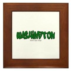 State of Washington Graffiti Framed Tile