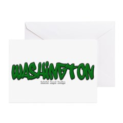 State of Washington Graffiti Greeting Card