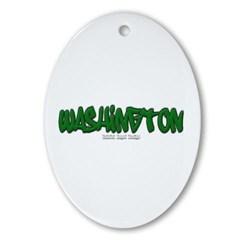State of Washington Graffiti Ornament (Oval)