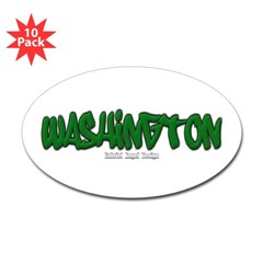 State of Washington Graffiti Oval Decal 10 Pack