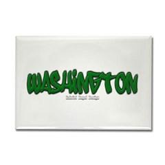 State of Washington Graffiti Rectangle Magnet