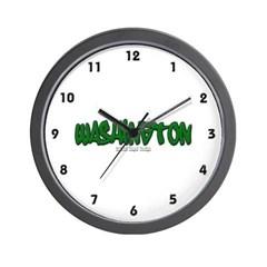 State of Washington Graffiti Wall Clock