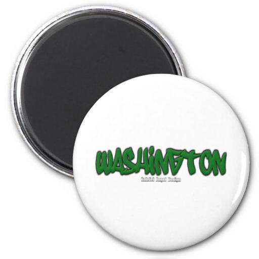 Washington Graffiti 2 Inch Round Magnet