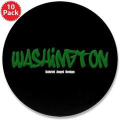 "Washington Graffiti (Black) 3.5"" Button (10 pack)"