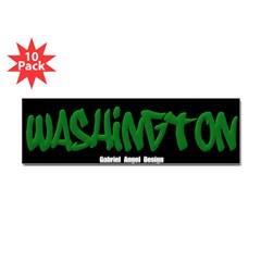 Washington Graffiti (Black) Bumper Sticker 10 Pack