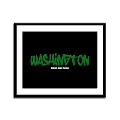Washington Graffiti (Black) Framed Panel Print