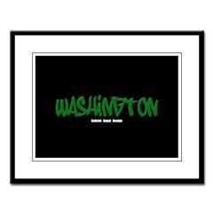 Washington Graffiti (Black) Large Framed Print