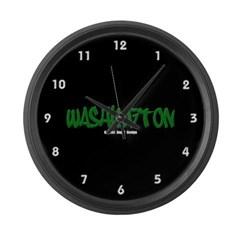 Washington Graffiti (Black) Large Wall Clock