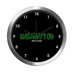 Washington Graffiti (Black) Modern Wall Clock