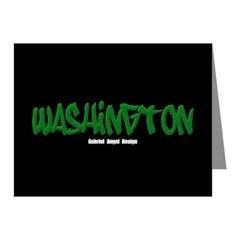 Washington Graffiti (Black) Note Cards (Pk of 10)