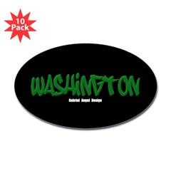 Washington Graffiti (Black) Oval Decal 10 Pack
