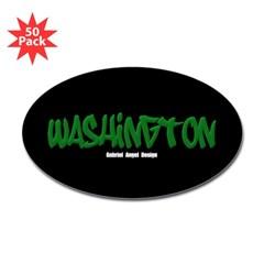 Washington Graffiti (Black) Oval Decal 50 Pack
