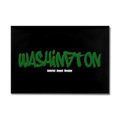 Washington Graffiti (Black) Rectangle Magnet