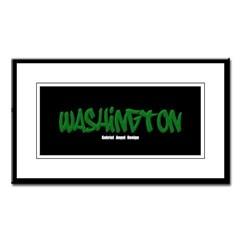 Washington Graffiti (Black) Small Framed Print