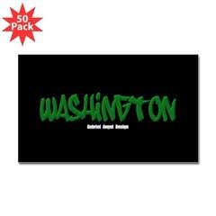 Washington Graffiti (Black) Sticker Rect. 50 Pack