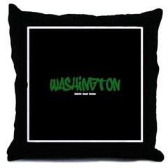 Washington Graffiti (Black) Throw Pillow