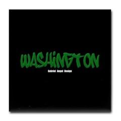 Washington Graffiti (Black) Tile Coaster