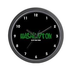 Washington Graffiti (Black) Wall Clock