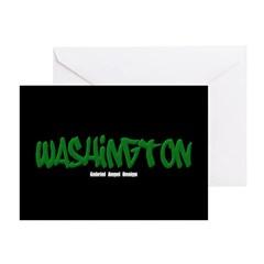 Washington Graffiti (Blk) Greeting Cards Pk of 10