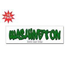 Washington Graffiti Bumper Sticker 10 Pack
