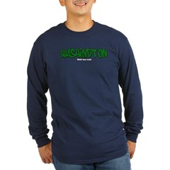 Washington Graffiti Long Sleeve Dark T-Shirt