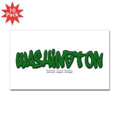 Washington Graffiti Rectangle Decal 10 Pack