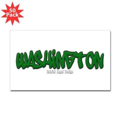 Washington Graffiti Rectangle Decal 50 Pack