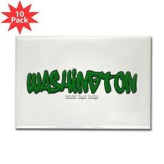 Washington Graffiti Rectangle Magnet (10 pack)
