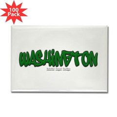 Washington Graffiti Rectangle Magnet (100 pack)