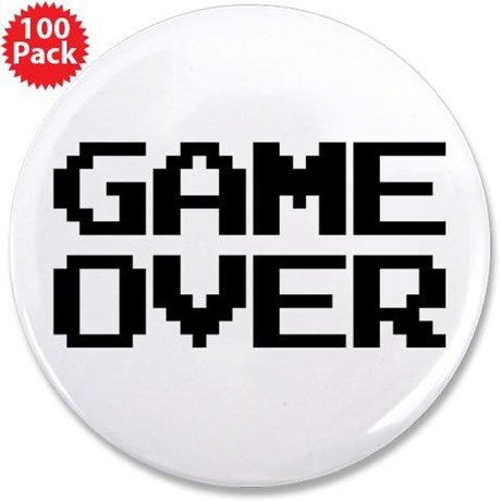 """Game Over 3.5"""" Button (100 pack)"""