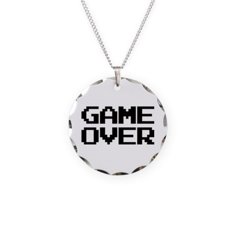 Game Over Necklace with Round Pendant