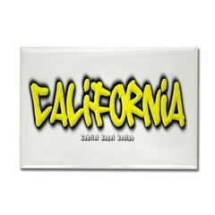 California Graffiti Rectangle Magnet