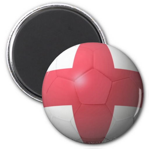 England Soccer 2 Inch Round Magnet