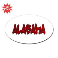 Alabama Graffiti Oval Decal 50 Pack