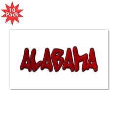 Alabama Graffiti Rectangle Decal 10 Pack