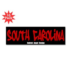 South Carolina Graffiti (Black) 10 Bumper Stickers