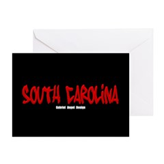 South Carolina Graffiti (Black) 10 Greeting Cards