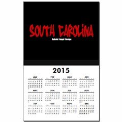 South Carolina Graffiti (Black) Calendar Print