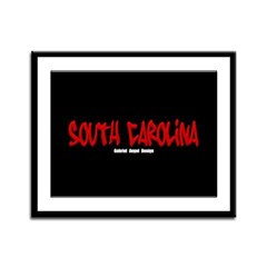 South Carolina Graffiti (Black) Framed Panel Print