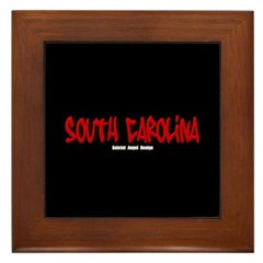 South Carolina Graffiti (Black) Framed Tile