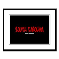 South Carolina Graffiti (Black) Large Framed Print