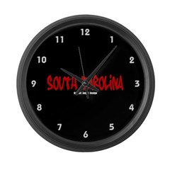 South Carolina Graffiti (Black) Large Wall Clock