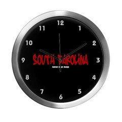 South Carolina Graffiti (Black) Modern Wall Clock