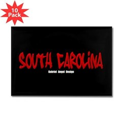 South Carolina Graffiti (Black) Rect Magnet 10pk