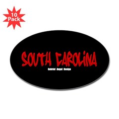 South Carolina Graffiti (Black) Sticker Oval 10 pk