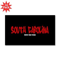 South Carolina Graffiti (Black) Sticker Rect 10 pk