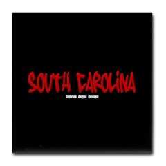South Carolina Graffiti (Black) Tile Coaster