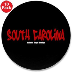 "South Carolina Graffiti (Blk) 3.5"" 10 Buttons"