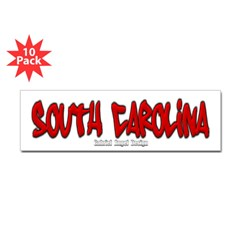 South Carolina Graffiti Bumper Sticker 10 Pack